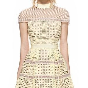 Self-Portrait crosshatch panelled mini dress